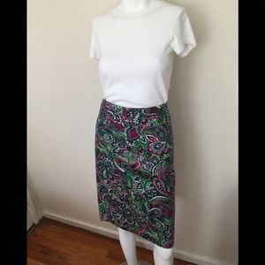 NWT Talbots cotton multi color skirt w/lining